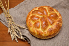 Delicious home made bread and wheat ears Royalty Free Stock Photography