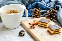 Winter weekend. Delicious home made cake ,cup of coffee  sarf  in a  balcony in snowy day. Lazy winter weekend with a book on the sofa Royalty Free Stock Photography