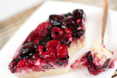 Delicious home-made cake with fresh berries Stock Photos