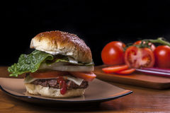 Delicious home made cheeseburger. Royalty Free Stock Photos