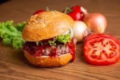 Delicious home made hamburger stock image
