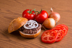Delicious home made hamburger Stock Photos