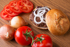 Delicious home made hamburger stock photography