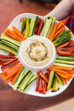 Delicious home made hummus and vegetables sticks Royalty Free Stock Images