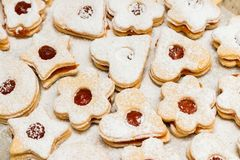 Delicious home made jam cookies. Closeup royalty free stock image