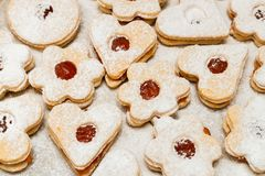 Delicious home made jam cookies. Closeup stock photos