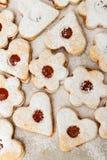 Delicious home made jam cookies. Closeup royalty free stock photos