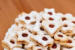 Delicious home made jam cookies. On a simple background Royalty Free Stock Photography