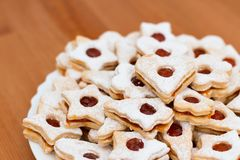 Delicious home made jam cookies. On a simple background royalty free stock photos