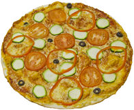 A delicious home made pizza on a white background. Tasty food. Stock Photo