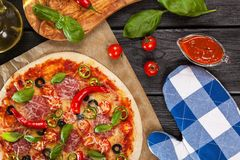 Delicious home made pizza Royalty Free Stock Images