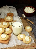 Delicious homemade biscuits. Shortbread with cream cheese cookie and glass of milk on dark background. Stock Photos