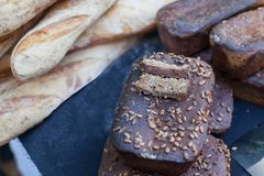 Delicious homemade black bread. Borodinsky bread is a traditional Russian rye-wheat bread. Assortment of fresh baked bread. Borodinsky bread is a traditional stock images