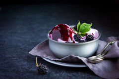 Delicious homemade blackberry  ice cream with blackberry topping. And fresh berry on vintage bowl, selective focus Stock Photo