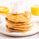 Delicious homemade breakfast with pancakes stock photo