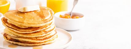 Delicious homemade breakfast with pancakes stock photos