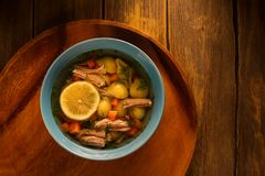 Delicious homemade broth soup Stock Image