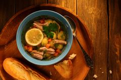 Delicious homemade broth soup Stock Images