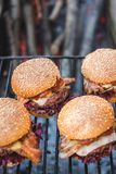 Delicious homemade burgers Royalty Free Stock Photos