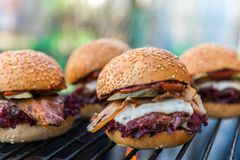 Delicious homemade burgers Royalty Free Stock Images
