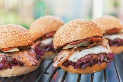 Delicious homemade burgers Royalty Free Stock Image