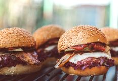 Delicious homemade burgers Stock Photography