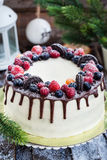 Delicious homemade cake with fresh berries Stock Photo