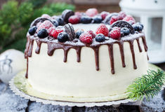 Delicious homemade cake with fresh berries Royalty Free Stock Photos
