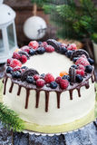 Delicious homemade cake with fresh berries Stock Photography