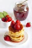 Delicious homemade cheese pancakes Stock Photo