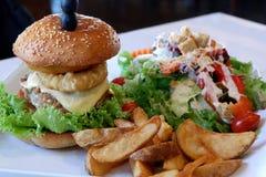 Closeup Photo of Delicious Homemade Cheese Burger royalty free stock photos