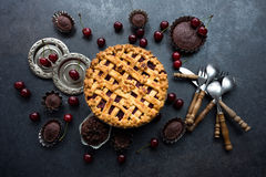 Delicious homemade cherry pie with a flaky crust royalty free stock photography