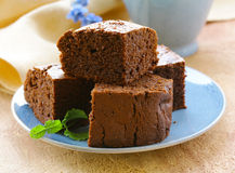 Delicious homemade chocolate brownie cake Royalty Free Stock Images
