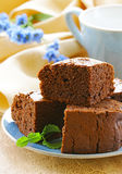 Delicious homemade chocolate brownie cake Stock Images