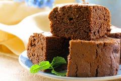 Delicious homemade chocolate brownie cake Stock Photo