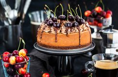 Delicious homemade chocolate cheesecake decorated with fresh che. Rries, on dark Royalty Free Stock Images