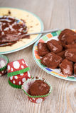 Delicious homemade chocolate truffle praline Stock Photos