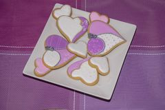 Sweet love cookies. Delicious homemade cookies as a gift for someone special Royalty Free Stock Images