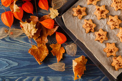 Delicious homemade cookies in the form of a maple leaf, oak leav Royalty Free Stock Image