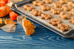 Delicious homemade cookies in the form of a maple leaf, oak leav Royalty Free Stock Photos