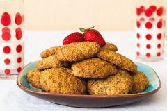 Delicious homemade cookies and milk. Royalty Free Stock Photos
