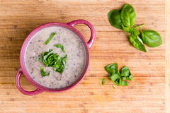 Delicious homemade cream of mushroom soup Royalty Free Stock Images