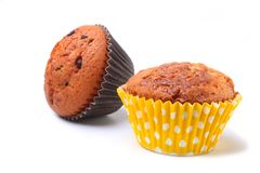 Delicious homemade cupcake with chocolate isolated on white background. Muffins. Stock Photography