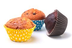 Delicious homemade cupcake with chocolate isolated on white background. Muffins. Delicious homemade cupcake with chocolate isolated on white background. Muffins Royalty Free Stock Photo