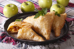 Delicious homemade cut turnover with apples and raisins close-up Royalty Free Stock Photography