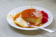 Creme caramel dessert Stock Images