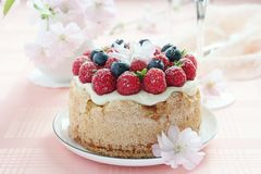 Delicious homemade fruit cake with berries garnish Royalty Free Stock Photography