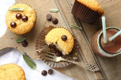 Delicious homemade gluten free muffins with chocolate drops Royalty Free Stock Photo