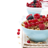 Delicious homemade granola with fresh berries and milk, close-up Stock Photography