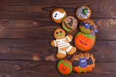 Delicious homemade Halloween ginger cookies with ghosts, pumpkin stock photography